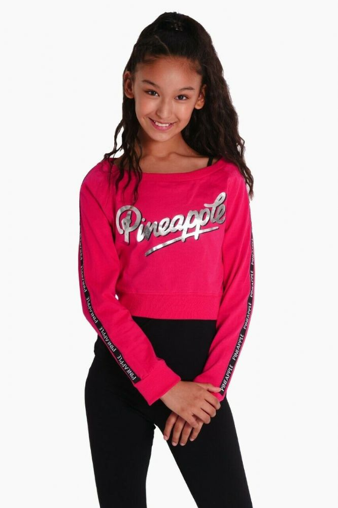 PINEAPPLE DANCEWEAR GIRLS Long Sleeved Double Layer Dance Jumper Berry Red/Black